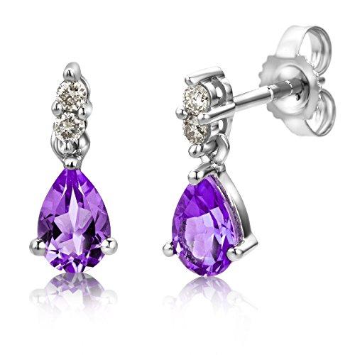 Miore Ohrringe Damen 0.08 Ct Diamant tropfen Ohrhänger mit Edelstein/Geburtsstein aus Weißgold 9 Karat / 375 Gold, Ohrschmuck mit Diamanten Brillanten (Amethyst)