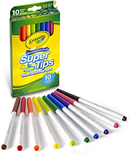 Crayola Super Tips Markers, Washable Markers, 10Count, Assorted