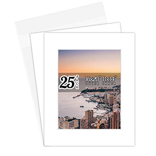 Golden State Art, Pack of 25, 16x20 White Picture Mats Mattes with White Core Bevel Cut for 11x14 Photo + Backing + Bags