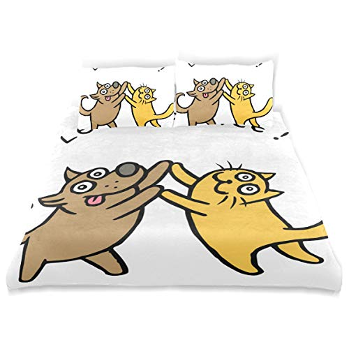 SUNOP Bettwaren & Bettwäsche, Bettlaken & Kissenbezüge, Spannbetttücher für Doppelbett, 100% gebürstete Baumwolle, Biber, Bettbezug und 2 Kissenbezüge, niedliches Hunde-Kik- und Katzen-Tik-Tänzerin