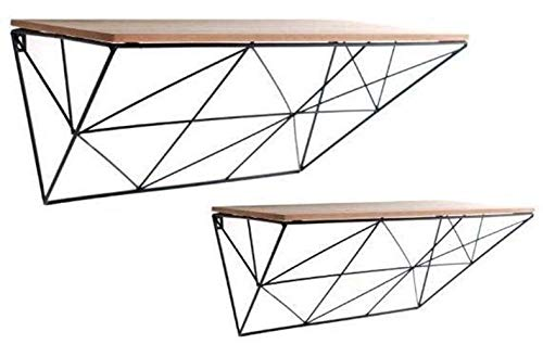 Generic ic Sh Set Geometrische Regale, Risches Regal, Naturholz-Lackierung, natürliches Regal, Draht, Schwarz l Display Wand Display Aufbewahrung