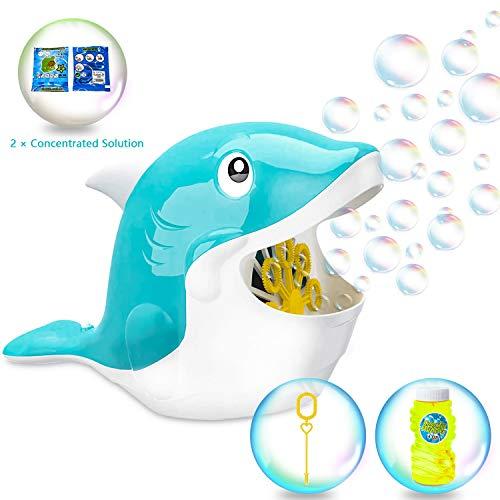 Seifenblasenmaschine ,Bubble Whale - Automatische Bubble Making Machine, Blasenmacher mit 2 Packs of 15ml Concentrate für Indoor Kinder Outdoor Toys Kindergeburtstag und Hochzeit,batteriebetrieben