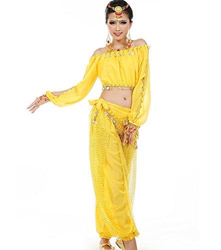 Astage Mujeres Danza del Vientre Disfraz Active Wear Top Pantalones Cinturón Sets Amarillo