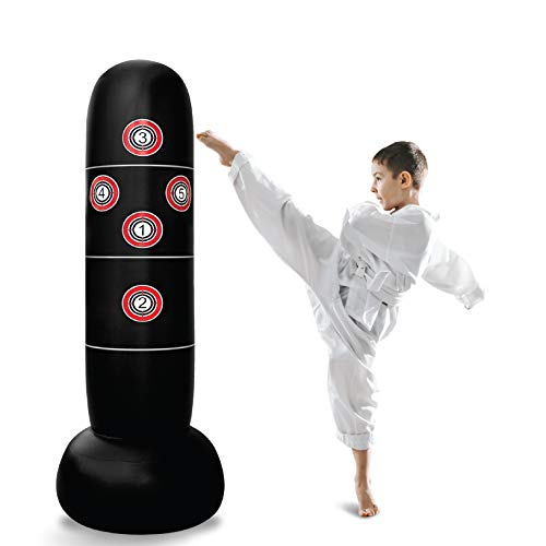 Inflatable Punching Bag – Freestanding Kid's Boxing Bag - Practice Target Columns, Durable PVC Material - Relaxing Kickboxing Bag for Adults and Children