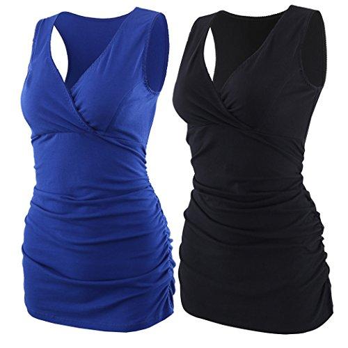 ZUMIY Camiseta Premamá, Mujer Top de Maternidad y de Lactancia (S, Black+Blue/2-pk)
