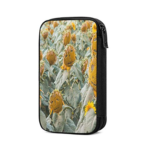Cable Organizer Case Smile Sunflowers Field Electronic Organizer Cases Travel Charger Cable Storage Case Tech Organizer Pouch Electronics Accessories Bag for Charger, USB, Power Bank, Hard Drives