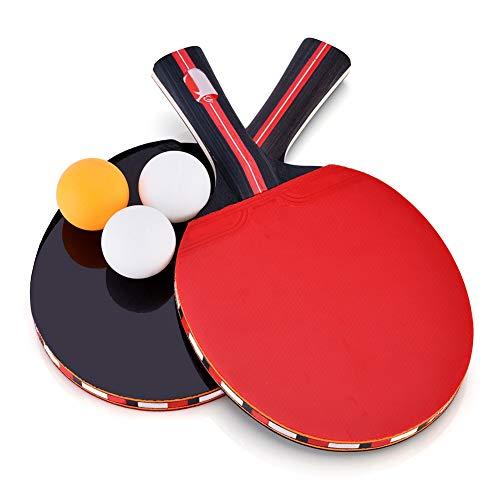 Qiter 【𝐎𝐬𝐭𝐞𝐫𝐧】 Tischtennispaddel, Tischtennispaddel 2-Spieler-Tischtennisschläger mit 3 Bällen für Shake-Hand-Grip-Spieler