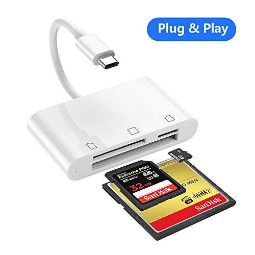 SD Card Reader, RayCue 3 in 1 USB C SD/TF Card Reader, USB C Camera SD/Mirco SD Card Viewer for New iPad Pro 11'/12.9' 2018, Mac-Book Pro and More UBC C Device