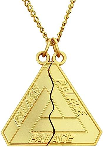 NC66 Collar Best Friends Forever Triangle Split Fashion Collar Largo con Colgante de Acero Inoxidable para Hombres y Mujeres (Medio triángulo) Cadena Golden Yellow-Cuban 0 370Cm