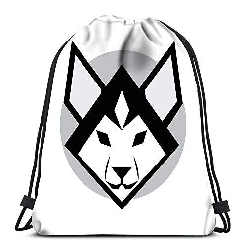 Valender Sac à Dos à Cordon Sacs Mascotte emblème Symbole tête de Chien Husky sibérien sur Sac de Sport Blanc