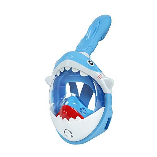 Glymnis Masque de Plongée pour Enfant Requin Masque de Plongée avec Tuba, Anti-buée, Anti-Fuite, Panorama 180° Système Dry Top Respiration Facile(Bleu)