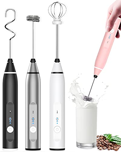 Laposso Milk Frother Rechargeable Handheld, Electric Whisk Coffee Frother Mixer with 3 Stainless whisks, 3-Speed Adjustable Foam Maker Blender for Coffee Matcha Latte Cappuccino Hot Chocolate (Pink)