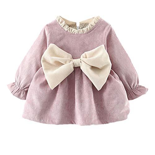 K-youth Vestidos para Niñas Vestido Bebe Niña Invierno Recien Nacido Vestido de Princesa Otoño Infantil Más Terciopelo Ropa para Bebe Niña De Frio Vestidos de Niña para Fiestas(Morado, 0-6 Meses)