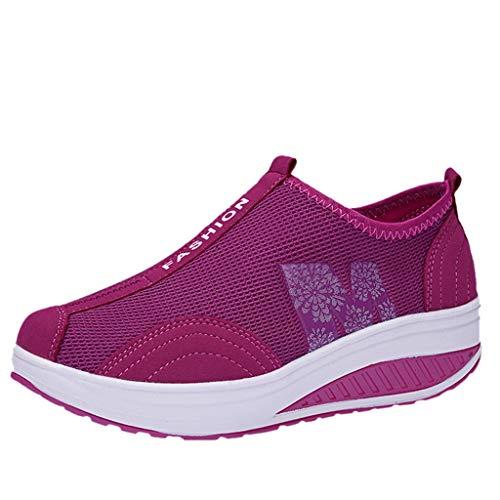 Fenverk Damen Netz Mit Keilabsatz Laufschuhe Sport Freizeitschuhe Atmungsaktiv Plateau Wedges Sneaker Slip On Mesh-OberfläChe Schuhe Sommer Loafers Gr. 35-40 (A Pink, 39 EU)