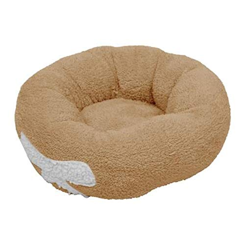 Pet Dog Cat Calming Bed Round Nest Warm Soft Plush Comfortable Round Brown for Cats & Small Dogs