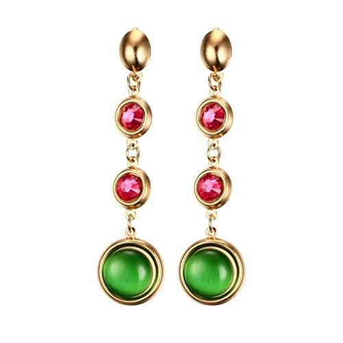 Pauro femmes titane acier inoxydable avec strass rouge et or vert long dimanche de fiançailles Boucles d'oreilles