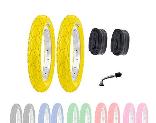 P4B | 2X 12 Zoll Kinderreifen (62-203) | 12 1/2 x 2 1/4 | Laufradreifen mit Breiten Mittelsteg für mehr Stabilität beim Fahren | Ohne Felgen!! (K) Gelb mit AV Schläuchen