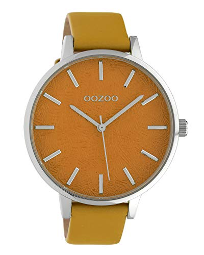 Oozoo Damenuhr mit Lederband 43 MM Silber/Orange C10161