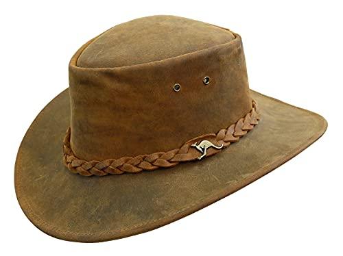 Kakadu Traders Australia Western, cappello da outdoor, in vera pelle, 2° scelta, tabacco, S