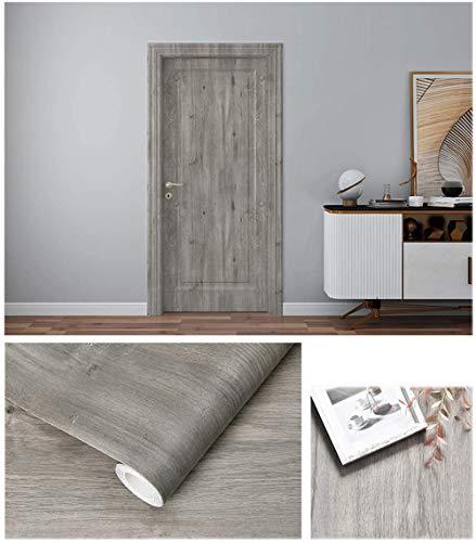 Autoadhesivo Gris Madera Vinilo Muebles Etiqueta de la pared Papel pintado para el piso Armarios de cocina Estantes Paredes Muebles de mesa Puerta 40CMX3M