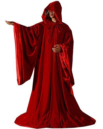 LuckyMjmy Velvet Wizard Robe Halloween Cloak Fancy Cosplay Costume (Large, Red)