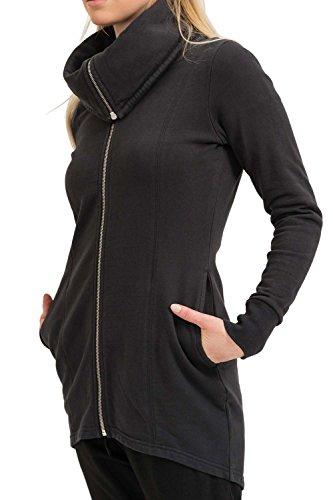 trueprodigy Casual Damen Marken Sweatjacke einfarbig Basic Oberteil Cool Stylisch Stehkragen Langarm Slim Fit Sweat Jacke für Frauen, Größe:M, Farben:Schwarz