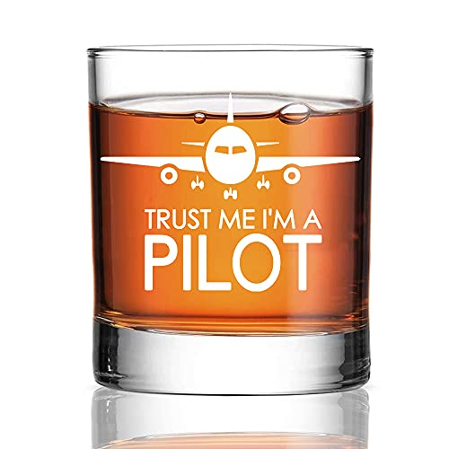 Perfectinsoy Trust me I'm a Pilot Whiskey Glass, Retired Pilot Whiskey Glass, Pilots Retiring Flight Attendants Helicopter Aviator Airman, Aviation Airline,Retirement Gifts for Coworkers
