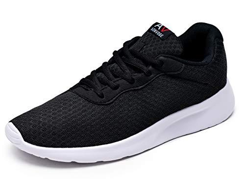 AONVOGE Laufschuhe Herren Schuhe Outdoor Walkingschuhe Straßenlaufschuhe Tennis Turnschuhe Sneaker Joggingschuhe Fitness Leichtgewichts Sportschuhe, Schwarz-Weiss 43 EU