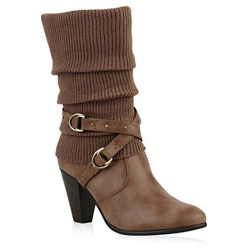 Klassische Stiefeletten Damen Stulpen Strass Stiefel Schuhe 125808 Khaki 36 Flandell