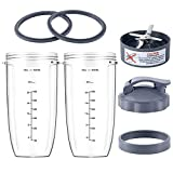 7 Pieces Blender Cups & Blade Replacement Set 32oz Huge Cup with 1 Flip-Top To-Go Lid and 1 Lid Ring & Premium Extractor Blade with 2 Rubber Gaskets Compatible with NutriBullet 600w/900w Blender