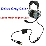UFQ A28 Delux Gray Color Great ANR Aviation Headset Active Noise Reduction-Compare with Rugged Air RA950 BUT UFQ A28 with Mp3 Input Bose Grade Hi-Fi Sound for Music and Free with a Headset Bag
