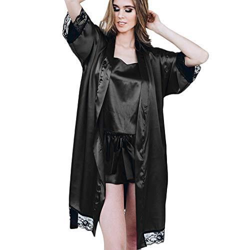 Kimono Corto Bata de Satén Vestido Pijama Mujer Lencería con Cordón Satén Seda de Hielo Bata Albornoz Camisón Bodydoll Sleepwear