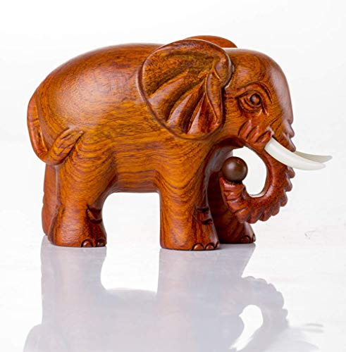 Glove Adorno de estatuilla de Elefante Tallado en Madera de Feng Shui para decoración del hogar