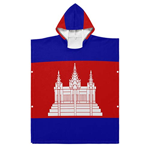 All3DPrint Bademantel für Kinder mit Kambodscha-Flagge, Polyester, Mehrfarbig, 27.55x27.55in