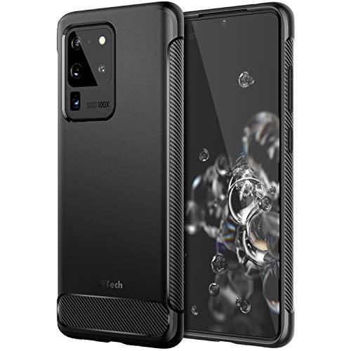 JETech Hülle für Samsung Galaxy S20 Ultra 5G (2020), Tasche mit Stoßdämpfung & Carbon Faser, Schwarz