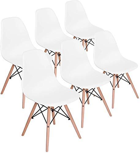 H.J WeDoo 6er Set Wohnzimmerstuhl Esszimmerstuhl Bürostuhl Kunststoff Massivholz Chair Weiß
