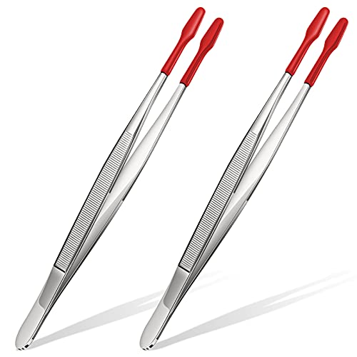 Rubber Tipped Tweezers PVC Silicone Coated Soft Non Marring Flat Tip Lab Industrial Hobby Craft Tweezers Tools (2, Red)