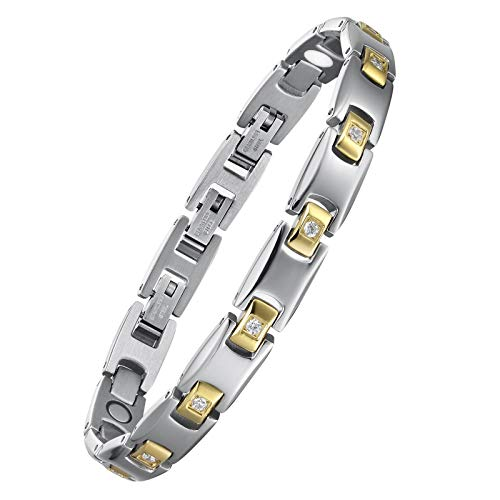 USWEL Magnetic Bracelet for Women with 4 Health Element for Carpal and Arthritis Pain Relief, Magnetic Therapy Bracelets with 3 Smart Buckle