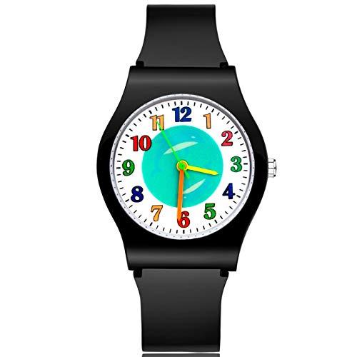 SFBBBO Reloj niño Moda Lindo Estilo delfín niños niños Estudiante niña niños Cuarzo Correa de Goma Relojes de Pulsera Negro