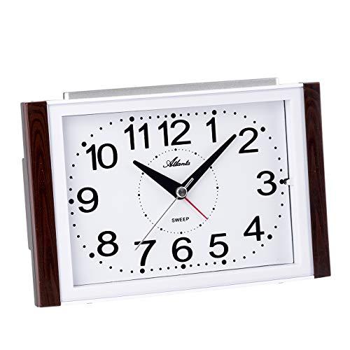 Atlanta Reloj despertador analógico sin tic tac, números grandes, color marrón y blanco - 2122/20