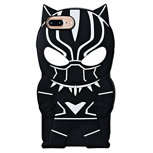 TopSZ Black Man Case for iPhone 6/7/8 Plus 5.5',Silicone 3D Cartoon Hero Animal Cover,Kids Girls Teens Boys Man Animated Cool Fun Cute Kawaii Soft Rubber Funny Character Cases for iPhone 8Plus/7/6Plus