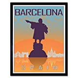 Wee Blue Coo Travel Tourism Barcelona Spain Christopher Columbus Statue Vector Art Print Framed Poster Wall Decor 12X16 Inch