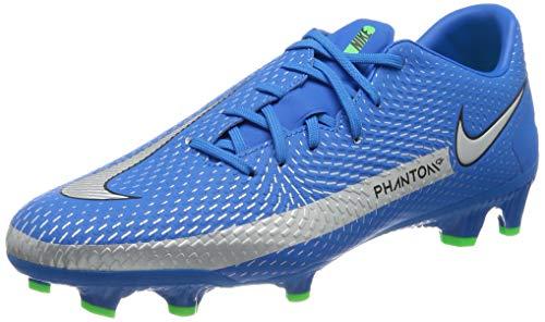 Nike Unisex Phantom GT Academy MG Soccer Shoe, Photo Blue/Metallic Silver-Rage Green-Black, 44.5 EU