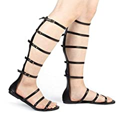 1a5e73cc0a3 Womens Knee High Gladiator Sandals Flat Lace Up Strappy Summer Shoes ...