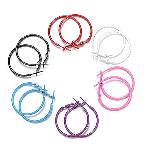 12 piezas (6 pares) de acero inoxidable abierto pendiente gancho bucle 20 mm 30 mm anillo de oreja aro círculo accesorios para hacer joyas mujer DIY