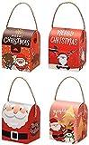 RENFEIYUAN 4 stücke Merry Boxen Papier Obst Apple Packung Case Süßigkeit Zucker Wickelbehälter mit Griff for Weihnachten Eva Holiday Party Favors Kinder Geschenk Paket Box