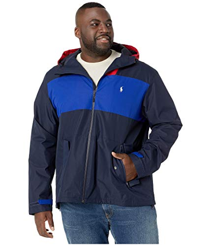 Polo Ralph Lauren Big & Tall Polo Active Color Block Windbreaker Jacket Aviator Navy/Pure White/Rl 2000 Red LT