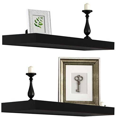 Amada Floating Shelves Invisible Wall Mounted 3 Sets, Modern Faux Wood Storage Shelves with Matte Finish, Perfect for Bedroom, Bathroom, Living Room and Kitchen Decoration (Black)