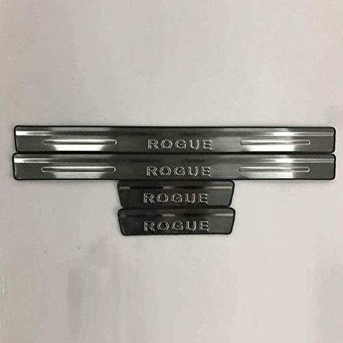 4 Piezas Acero Inoxidable Umbral de puerta Automóvil para Nissan Rogue Sport 2014 2015 2016 2017, Bienvenidos Pedal Placa Desgaste antiarañazos Accesorios de Coche
