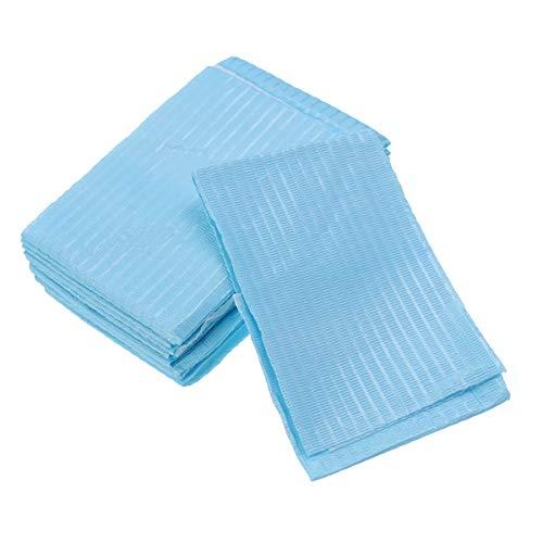 Healifty Baberos dentales Equipo de laboratorio dental de papel desechable oral 10PCS Toalla de papel de bufanda oral para uso de la clínica dentista (azul cielo)